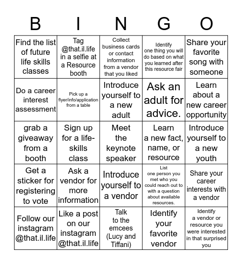 Resource Fair 2020 Bingo Card