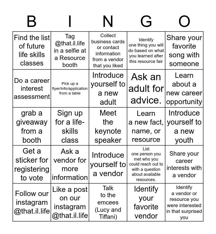 Resource Fair 2020 Bingo Card