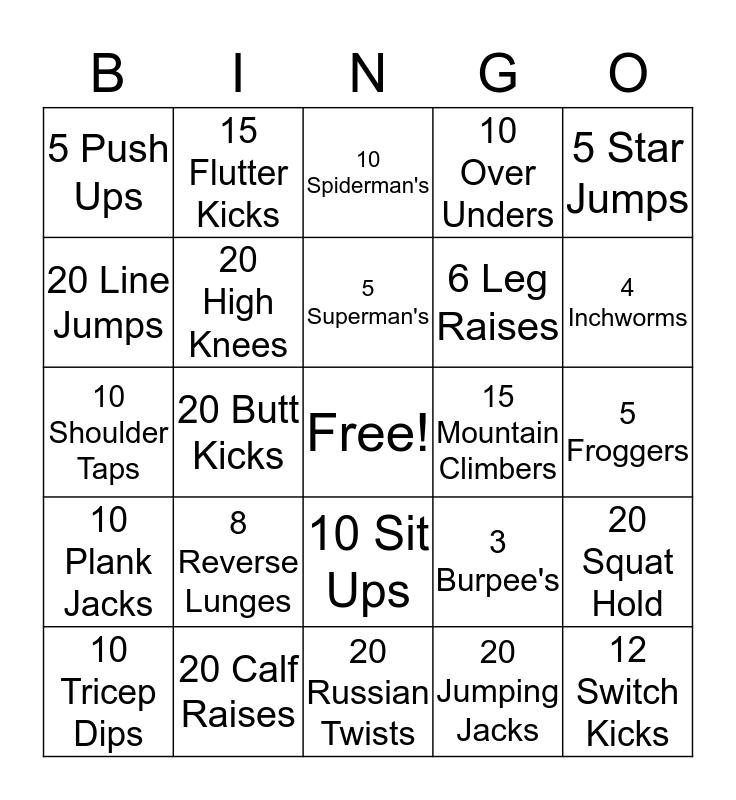 Fitness Bingo  Bingo Card