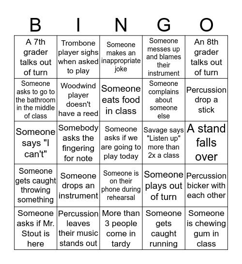 Band Anti-Bingo Card