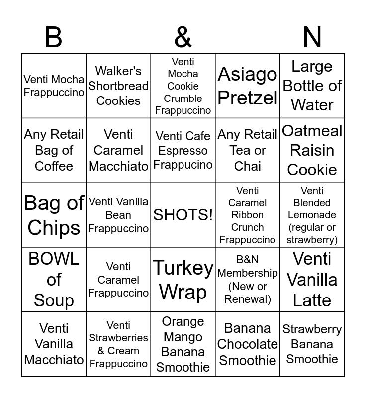 Cafe Bingo! Bingo Card