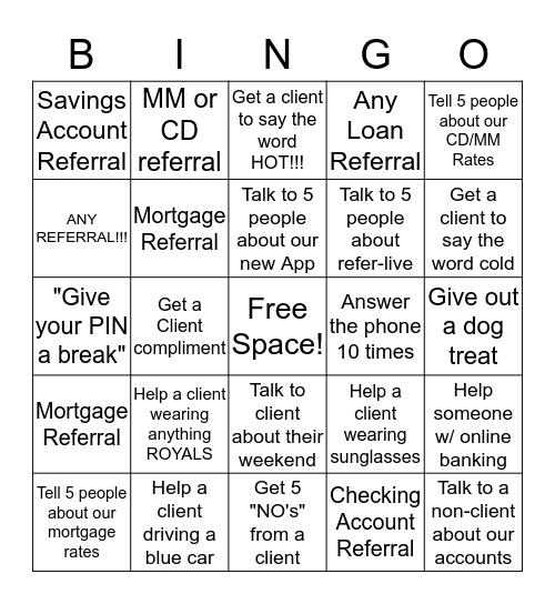 Referral BINGO! Bingo Card
