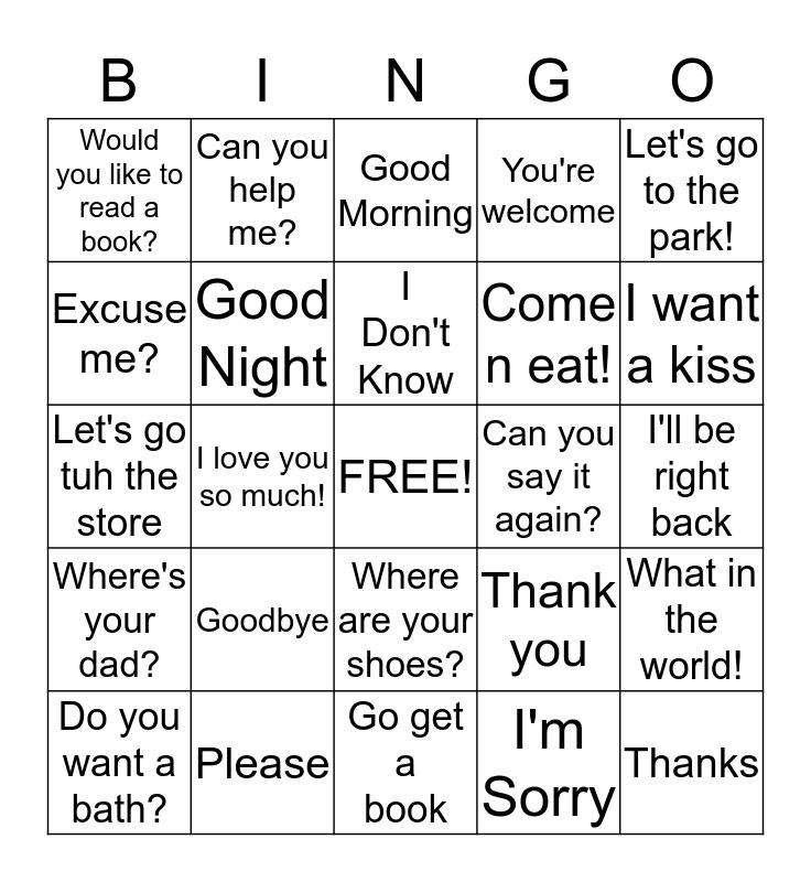 Common Phrases Bingo Card