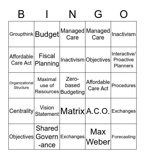 Leadership & Management Bingo Card