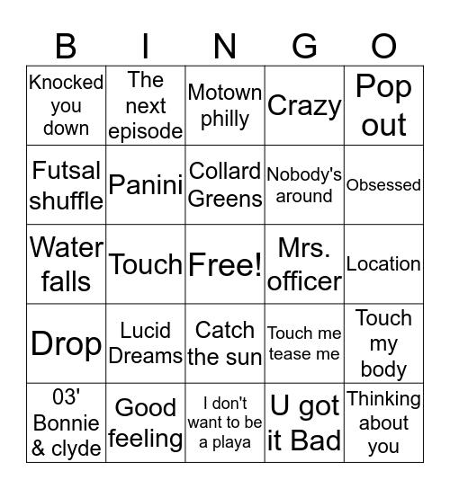 BSA Musical Bingo Card