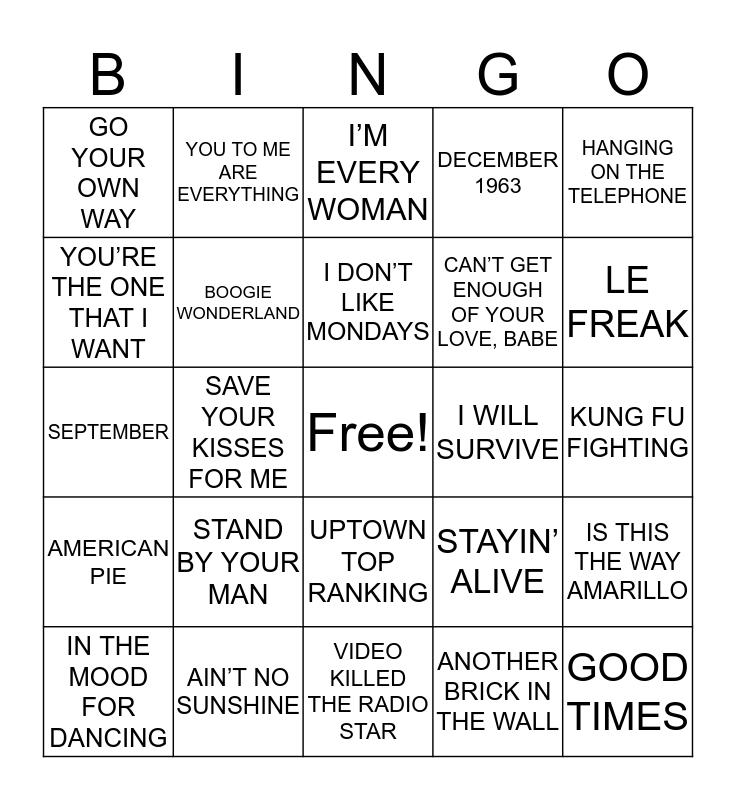 BINGO BEATS 70s Bingo Card