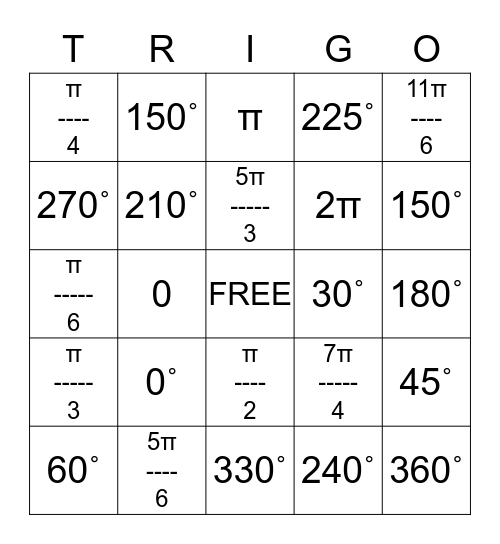 TRIGO Bingo Card