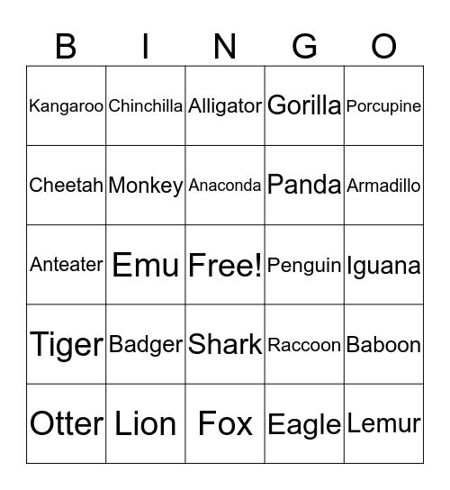 At The Zoo Bingo Card