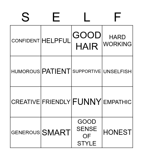 Self Worth Bingo Card