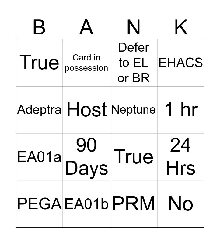 TD Debit Bingo  Bingo Card
