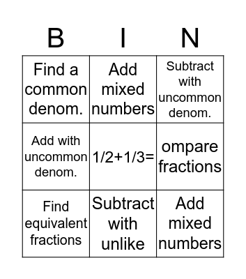 Math Fraction Bingo Card