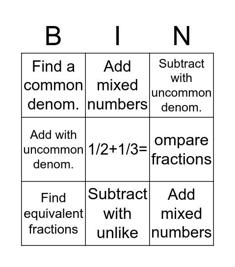 Math Fraction Bingo Card