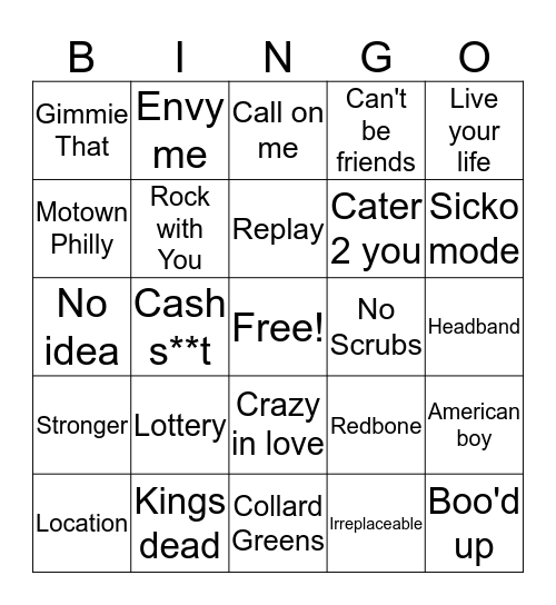 BSA Musical Bingo Card