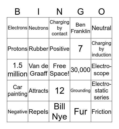 Static Electricity Bingo! Bingo Card