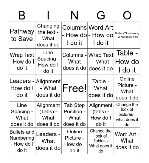 Word Review - (Your first and last initial) Bingo Card