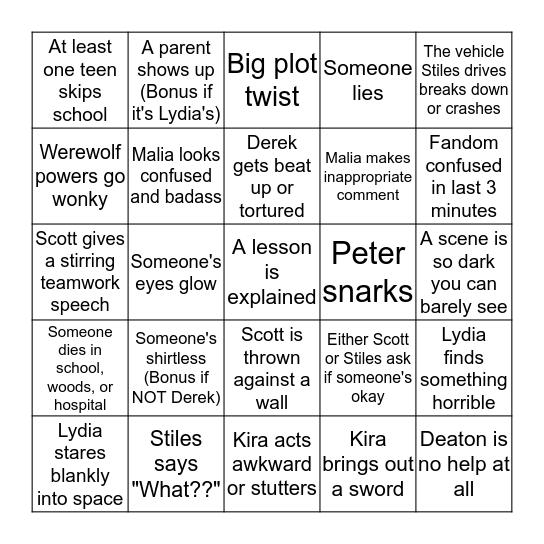 Teen Wolf Bingo Card