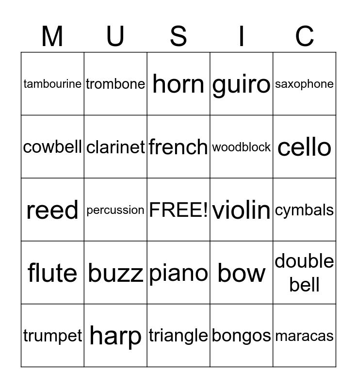 Instruments! Bingo Card