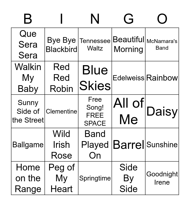March Music Bingo Card