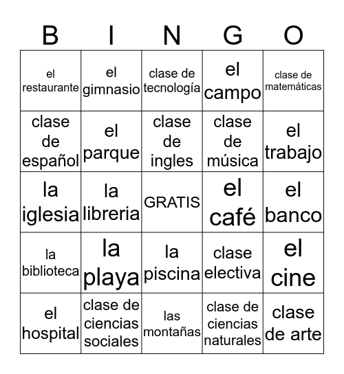 Spa. 1 Places and Clases Bingo Card