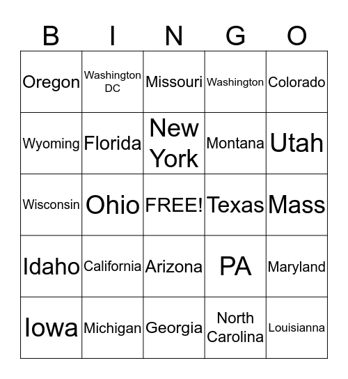 What States are Calling Today Bingo Card