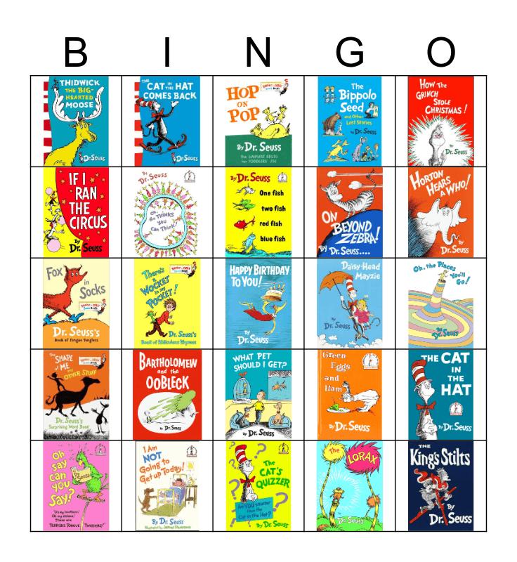 Dr. Seuss book bingo Card