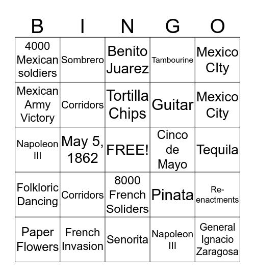 Cinco de Mayo  Bingo Card