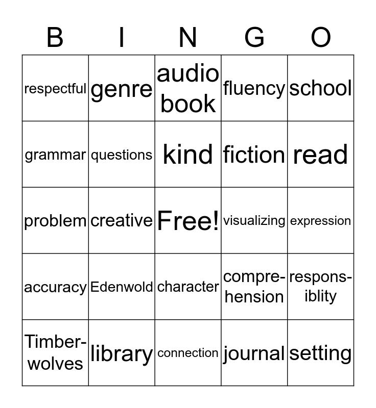 LITERACY BINGO  Bingo Card