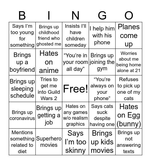 Dad Bingo Card