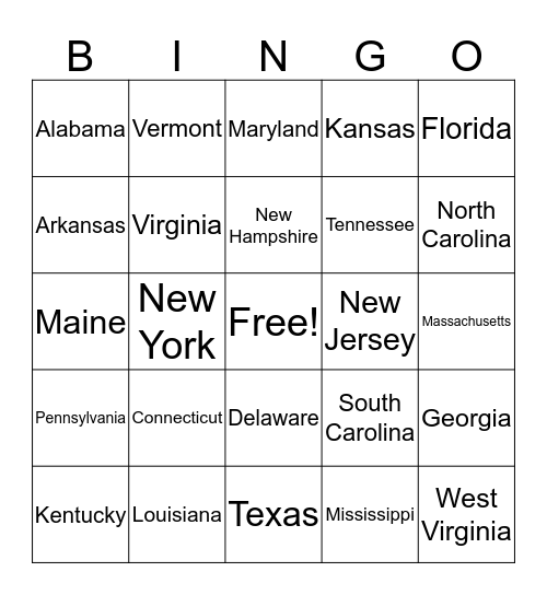 U.S. States Bingo Card