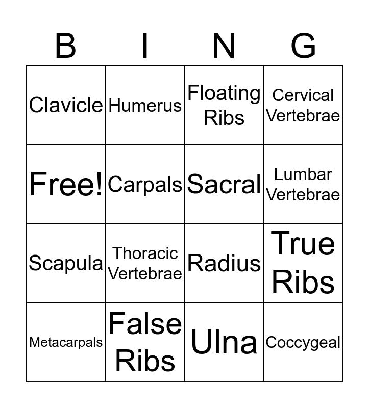 SKELETAL Lit. #1 Bingo Card