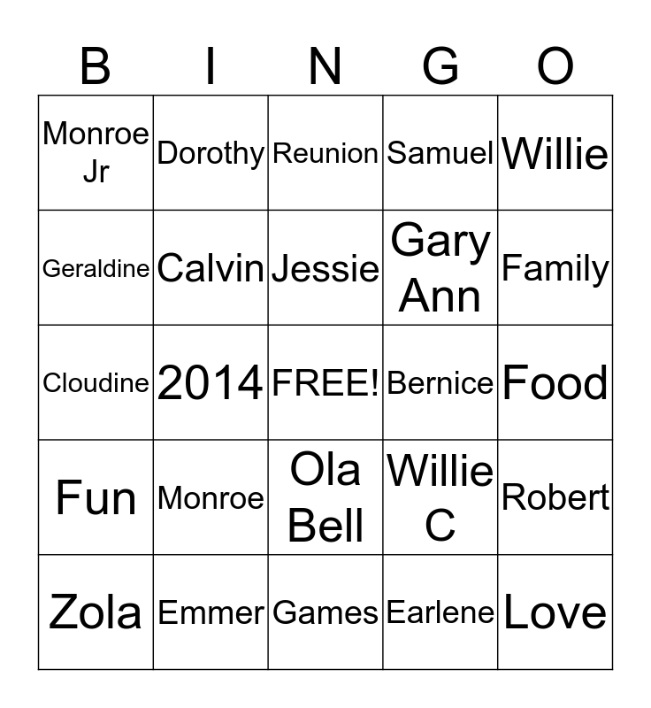 Samuel Family Reunion Bingo Card