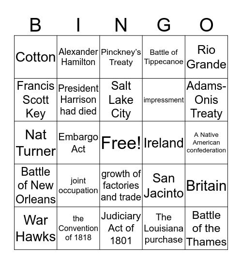 US History Review  Bingo Card