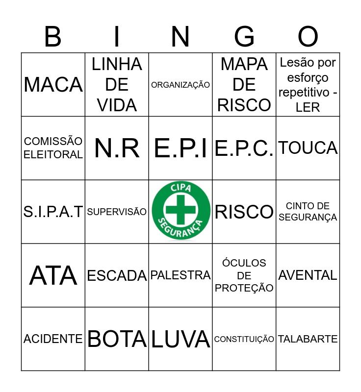 BINGO DE SEGURANÇA, Cada dia saíra 1 palavra, no total serão 5 palavras  , você poderá ganhar MARCANDO EM HORIZONTAL, VERTICAL OU DIAGONAL Bingo Card