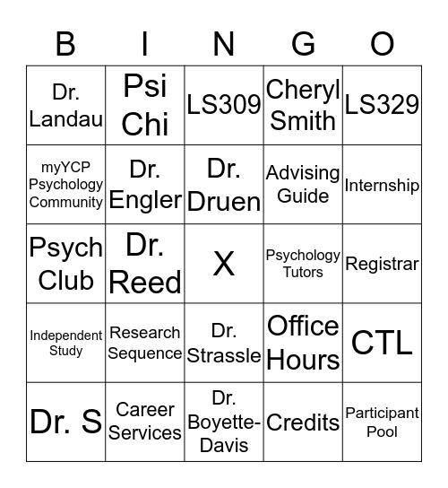 YCP Psychology BINGO!! Bingo Card