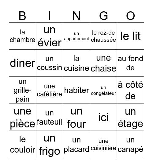à la maison Bingo Card