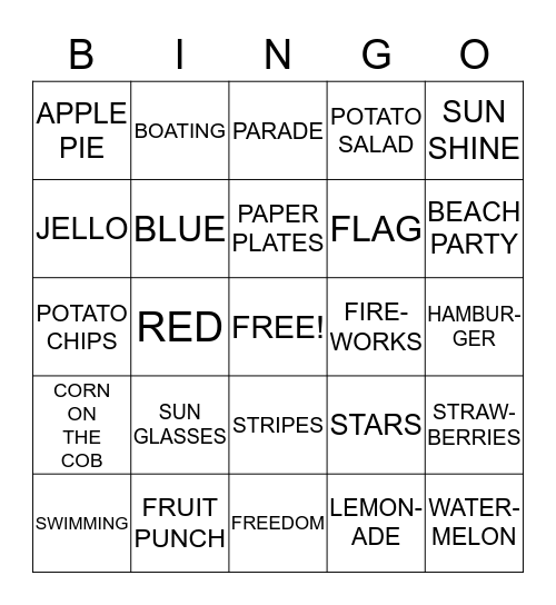 4th OF JULY BINGO Card
