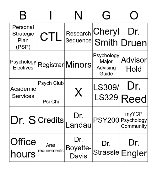 YCP Psychology BINGO!! Bingo Card