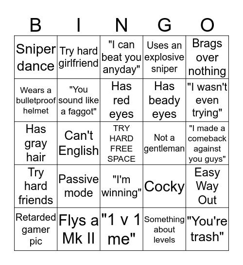 Try Hard Bingo Card