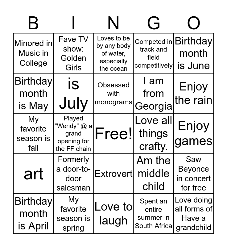 School Social Workers Rock!  Bingo Card
