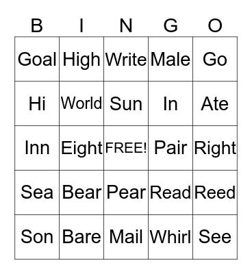-      Sounds      - Bingo Card