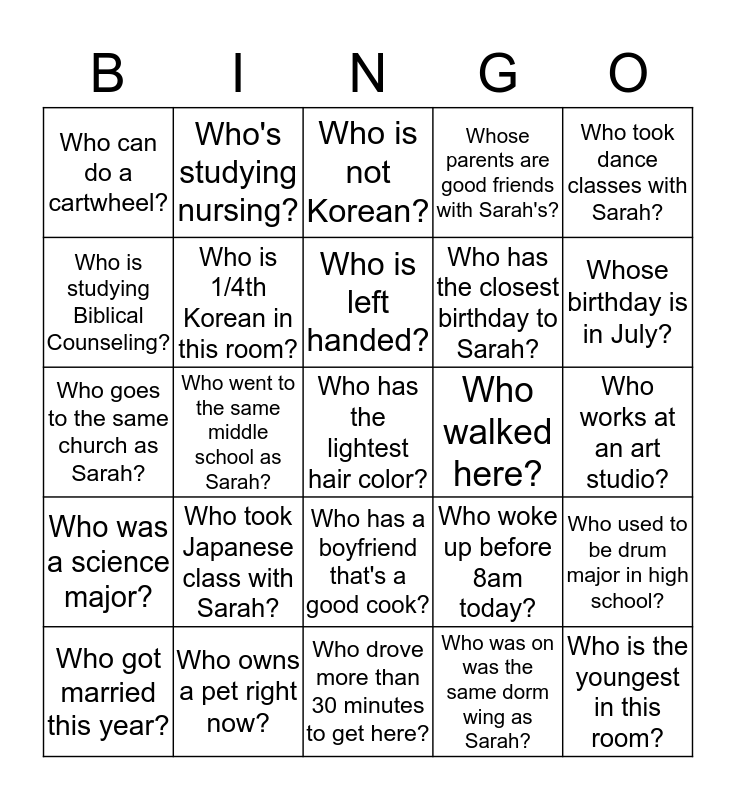 GET TO KNOW ONE ANOTHER! Bingo Card