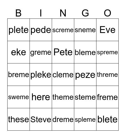 e-e Bingo Card