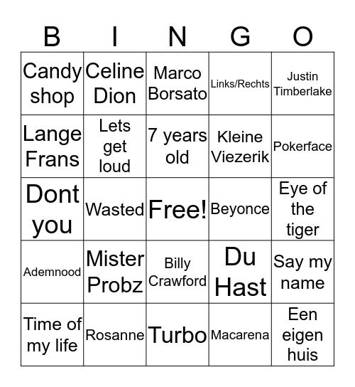 Muziek Bingo Card