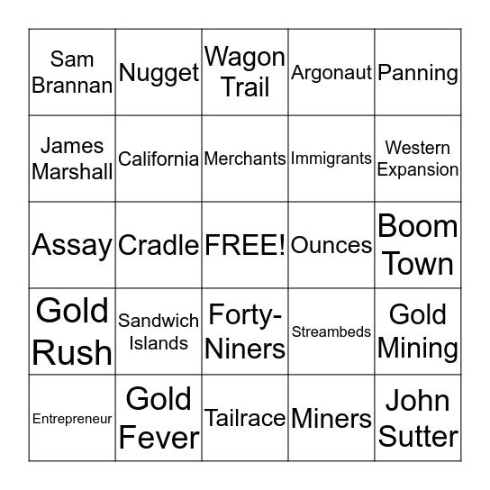 Gold Rush Bingo Card