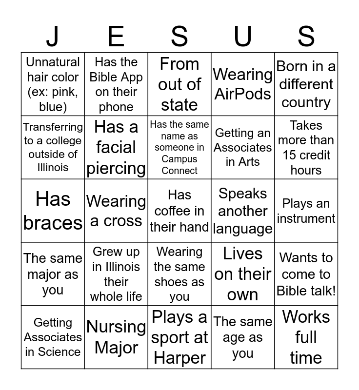I Got Jesus! Bingo Card