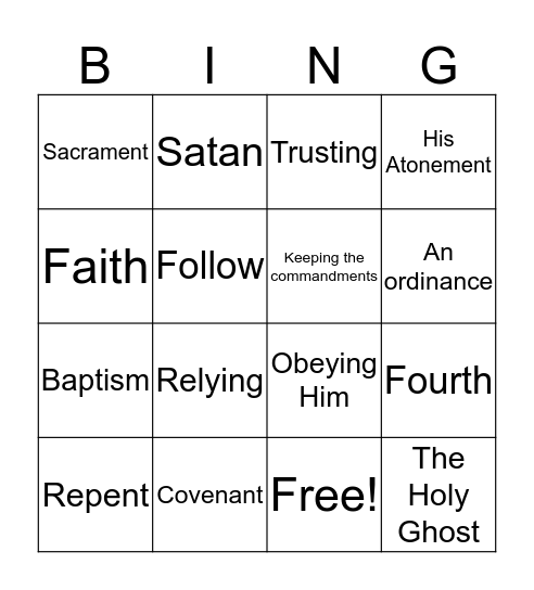 What does it Mean to Live the Doctrine of Christ Bingo Card