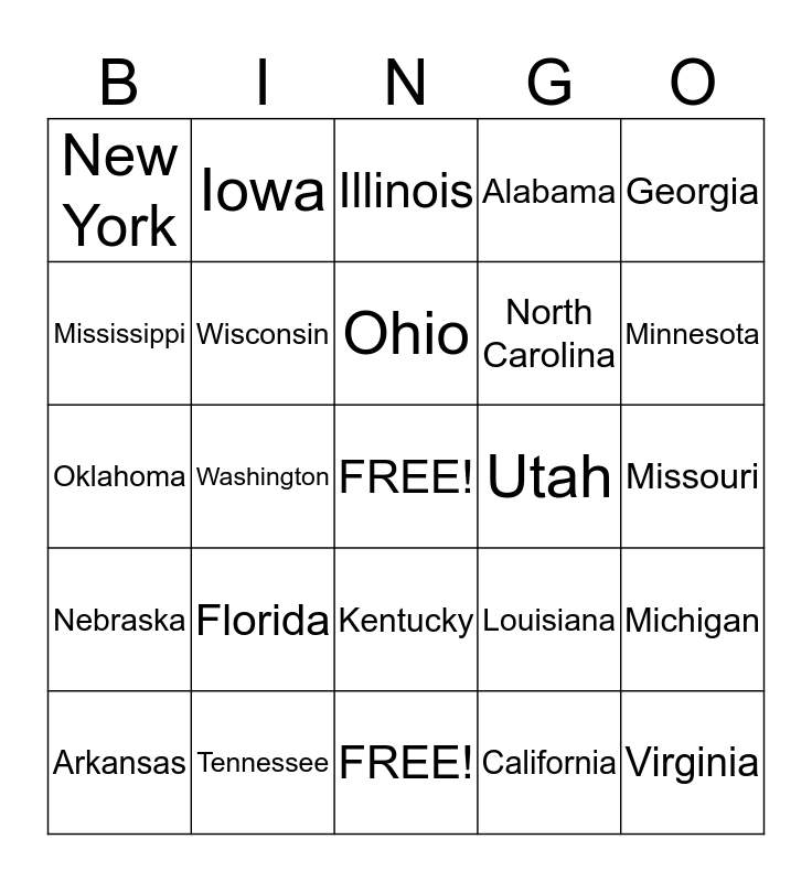 States Surrounding the Mississippi River Bingo Card