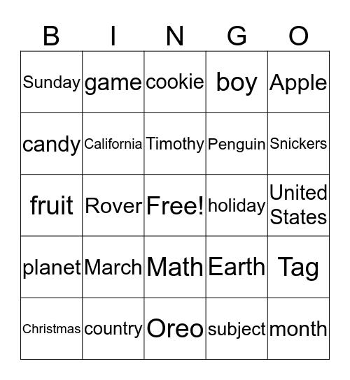 Proper noun Bingo Card