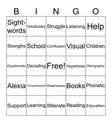 Reading Disabilities Bingo Card