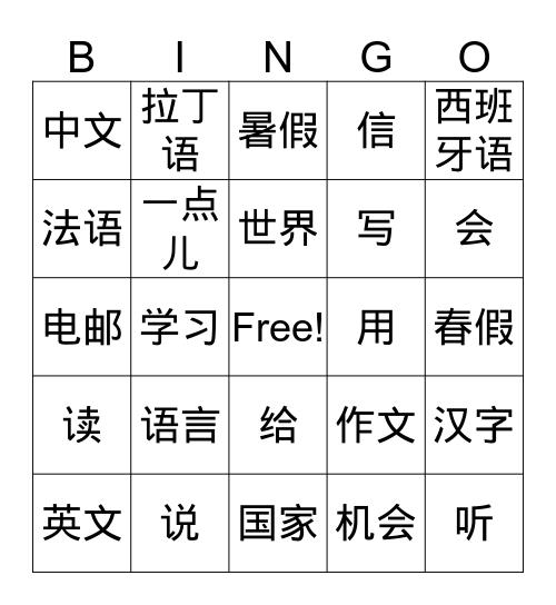 G6-L18-Languages2 Bingo Card